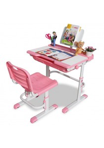 Furniture Direct Ergonomic Adjustable Study Desk With Chair- Pink