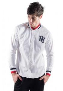 Printed Detail Long Sleeve Shirt in White 10116-WHITE