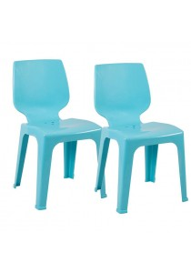 A Pair Of Luster Stackable Chair In Turquoise Color