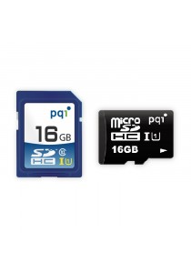 PQI Memory Card Micro Sd UHS-1 Class 10 | 16GB With Adapter