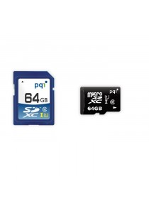 PQI Memory Card Micro Sd UHS-1 Class 10 | 64GB With Adapter