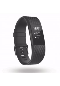 "[Special Edition] Fitbit Charge 2 Heart Rate + Fitness Wristband Large 6.3"" – 7.9"" Gunmetal Frame(Black)"