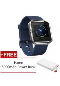 Fitbit Blaze Fitness Watch - (Blue/Silver Small) FREE Hame 5,000mAh Power Bank