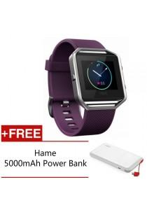 Fitbit Blaze Fitness Watch - (Plum/Silver - Large) FREE Hame 5,000mAh Power Bank