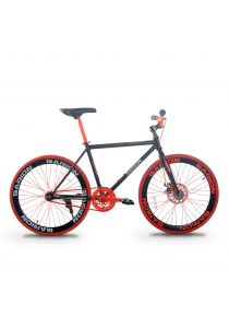"""Garion G2426-BC 24"""" Disc Brake Fixie / Fixed Gear Bike with 1 Speed (Matte Black/Red)"""