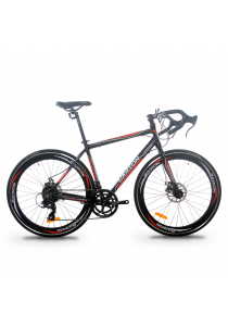 Garion G70016-BC 700C x 23C Alloy Racing / Road Bike with 14 Speed (Matte Black/Red)