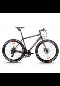 Garion G70017-BC 700C x 28C Alloy Hybrid Bike with 16 Speed (Matte Black/Red)