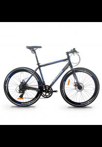 Garion G70017-BC 700C x 28C Alloy Hybrid Bike with 16 Speed (Matte Black/Blue)