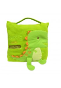 Cute Pillow Blanket for Baby and Kids Green Little Dinosaur