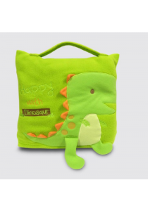 Cute Pillow Blanket For Babies & Kids - Little Green Dinosaur