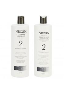 Nioxin - 2 Cleanser Shampoo 1000ml + Scalp Revitaliser Conditioner (1000ml)