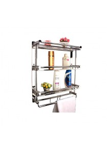 3 Tier Stainless Steel Bathroom Shelf with Hooks (HGN0024)