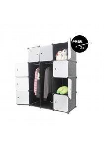 LivingCabinet 12 Cubes Dark Veins DIY Cabinet Wardrobe [Free Hanger]