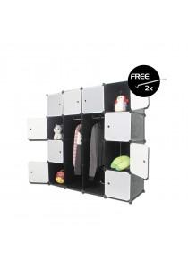 LivingCabinet 16 Cubes Dark Veins DIY Cabinet Wardrobe [Free Hanger]