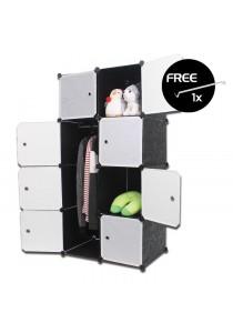 LivingCabinet 8 Cubes Dark Veins DIY Cabinet Wardrobe [Free Hanger]