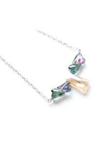 Happy Heart Crystal Silver Necklace (Champagne Blue) Handmade by Shirleen Jeweliciouss