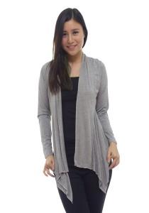 LadiesRoomFashion Irregular Length Grey Cardigan