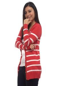 LadiesRoomFashion Stripes Long Sleeve Cardigan - Orange