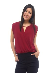 LadiesRoomFashion High Low Chiffon Blouse - Maroon