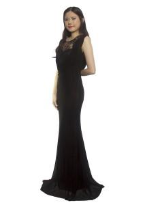 LadiesRoom Elegant Lace Mermaid Dinner Dress (Black) S/M
