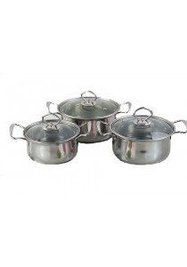Idea Stainless Steel Cookware Set 16/18/20cm 6pcs