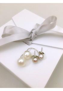 Trendy Purple and White Pearl Earrings