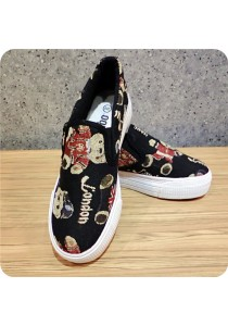 Bear Embroidery Canvas Shoes 06686BLK