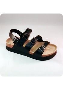 PU Three Straps Sandal 0228BLK
