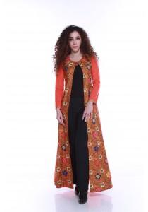 Florae by Fissa Kemboja Batik Long Cardigan in Marigold