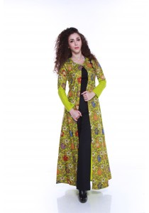 Florae by Fissa Kemboja Batik Long Cardigan in Lime Green