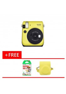 Fujifilm Instax Bundle Mini 70 (Yellow) + 10pcs Film + Leather Case (Original Malaysia Warranty)