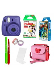 Fujifilm Instax Bundle Mini 8 + 10pcs Plain Film + 10pcs Monster Film (Original Malaysia Warranty) (Purple)