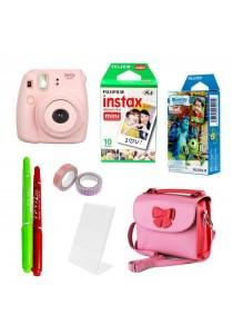 Fujifilm Instax Bundle Mini 8 + 10pcs Plain Film + 10pcs Monster Film (Original Malaysia Warranty) (Pink)