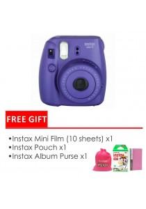 Fujifilm Instax Mini 8 Package Grape (Instax Mini 8 + Filmx1 Box + Bag + Album)