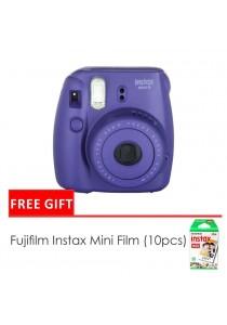 Fujifilm Instax Mini 8 Camera Grape + Single Pack Film (1 Year Original Malaysia Warranty)