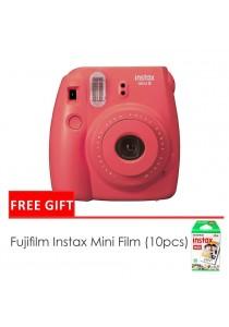 Fujifilm Instax Mini 8 Camera Raspberry + Single Pack Film (1 Year Original Malaysia Warranty)