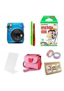 Fujifilm Instax Bundle Mini 70 (Blue) + 10pcs Plain Film + Butterfly Bag + Arcrylic Stand + 2x Cello Tape + 2x Magic Pen + Photobook (Original Malaysia Warranty)