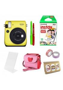Fujifilm Instax Bundle Mini 70 (Yellow) + 10pcs Plain Film + Butterfly Bag + Arcrylic Stand + 2x Cello Tape + 2x Magic Pen + Photobook (Original Malaysia Warranty)