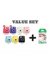 Fujifilm Instax Mini 8 (Black/Yellow/Blue/Pink/White/Grape/Raspberry) + Instax Mini Plain Film (10pcs)