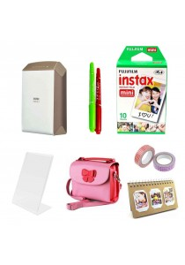 Fujifilm Instax Share SP-2 (Gold) + 10pcs Plain Film + Butterfly Bag + Arcrylic Stand + 2x Cello Tape + 2x Magic Pen + Photobook (Original Malaysia Warranty)