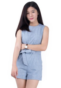 Ribbon Belted Cotton Romper