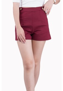 Rose Red High Waist Shorts JA01006ADR