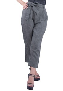Space Grey Belted Cotton Culottes