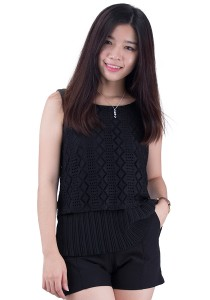 Dark Chiffon Edge Sleeveless Tops