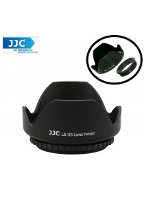 JJC LS-55 (55mm) Universal flower Screw-in Lens Hood for Standard Zoom Lens (Reverse Mount Possible)