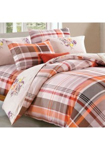 Essina 100% Cotton 500TC Mataro Collection Fitted Bed Sheet Set + Quilt Cover Jasmine - Queen