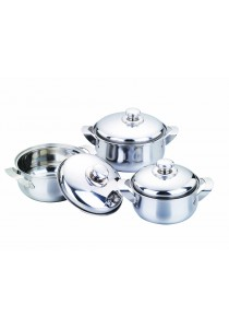 Idea Stainless Steel Pearl Cookware Set 16/18/20cm 6 Pcs