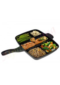 Alpha Living Multi function Non-Stick Divided Grill/Fry/Oven Pan/Meal Skillet 5 in 1 (KEA0120)