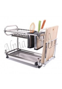 Alpha Living Stainless Steel Kitchen Dish Drainer Rack with Chopsticks and Knife Holder (KTN0087)