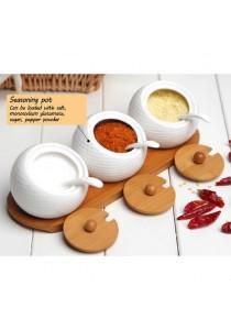 Alpha Living European Golf Seasoning Pot Three-Piece Ceramic Spice Jar - White (KTN0095)